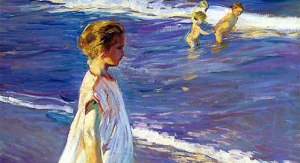 niña en la playa de Sorolla