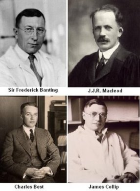 Los cuatro descubridores de la Insulina. Banting y McLeod recibieron el premio Nobel que compartieron con los otros dos.
