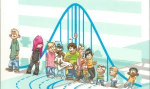 Las curvas de crecimiento representan una fila de niños, la parte inferior son los más bajos y la superior, los más altos.